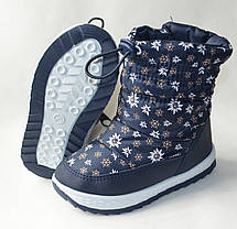 Детские зимние дутики теплые на зиму для девочки сапоги темно синий ромашка 25р 16см, фото 3