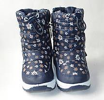 Детские зимние дутики теплые на зиму для девочки сапоги темно синий ромашка 25р 16см, фото 2