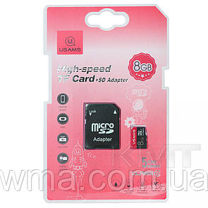 USAMS 8 GB US-ZB116 TF High Speed Card+Adapter (ZB116TF01) Red