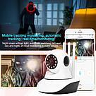 Бездротова поворотна Wi-Fi IP Камера відеоспостереження Onvif 720HD 355 ° Відеокамера з мікрофоном на 3 антени, фото 6