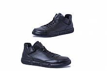 Ботинки черные натуральная кожа ,с резиновыми шурками