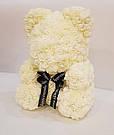 Мишка 40 см с коробкой из 3D фоамирановых роз Teddy de Luxe / искусственных цветов 3д, пенопласт Тедди белый, фото 6