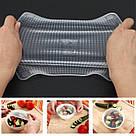 Набор многоразовых силиконовых крышек пленок Stretch and Fresh разного размера для хранения продуктов, фото 7
