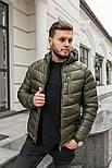 Мужская зимняя куртка теплая с капюшоном Мадрид Хаки Турция. Живое фото. Чоловіча куртка, фото 2
