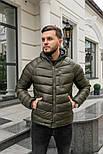 Мужская зимняя куртка теплая с капюшоном Мадрид Хаки Турция. Живое фото. Чоловіча куртка, фото 6