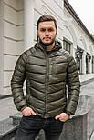 Мужская зимняя куртка теплая с капюшоном Мадрид Хаки Турция. Живое фото. Чоловіча куртка, фото 4