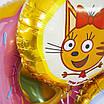 FM (18''/46 см) Круг, Три кота, желтый. Фольгированный воздушный шар Три кота Карамелька, фото 4