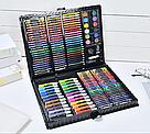 Художественный набор для творчества, рисования 150 предметов с мольбертом для детей в чемодане, фото 3