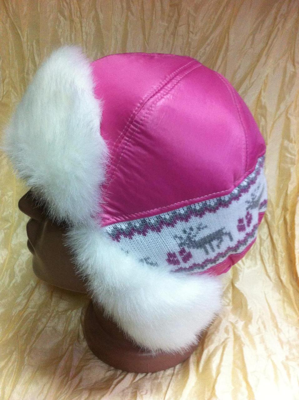 Розовая шапка - ушанка с трикотажной вставкой