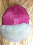 Розовая шапка - ушанка с трикотажной вставкой, фото 3