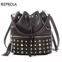 Женская модная сумка мешок вместительная черная