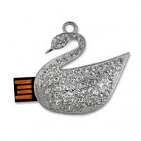 Флешка 8gb металл со стразами Лебедь