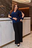Женский костюм кофта и штаны кюлоты креп дайвинг+люрекс размер батальный: 50-52, 54-56, 58-60, фото 4