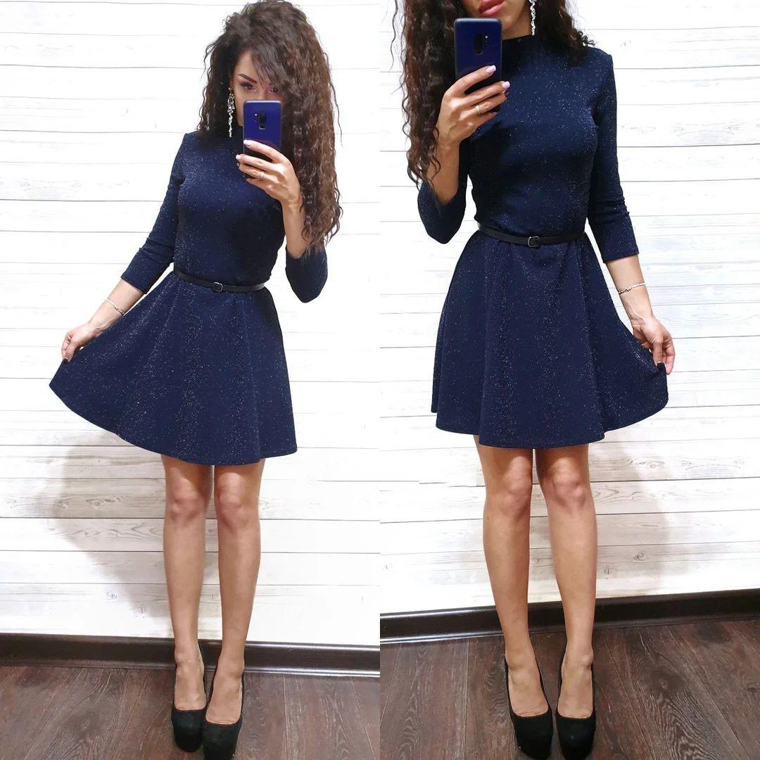 Платье мини с кожаным поясом свободного кроя с рукавом