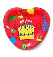 """Тарелки  бумажные в форме сердца """" Тортик """". 18см.10 шт. Посуда одноразовая детская"""