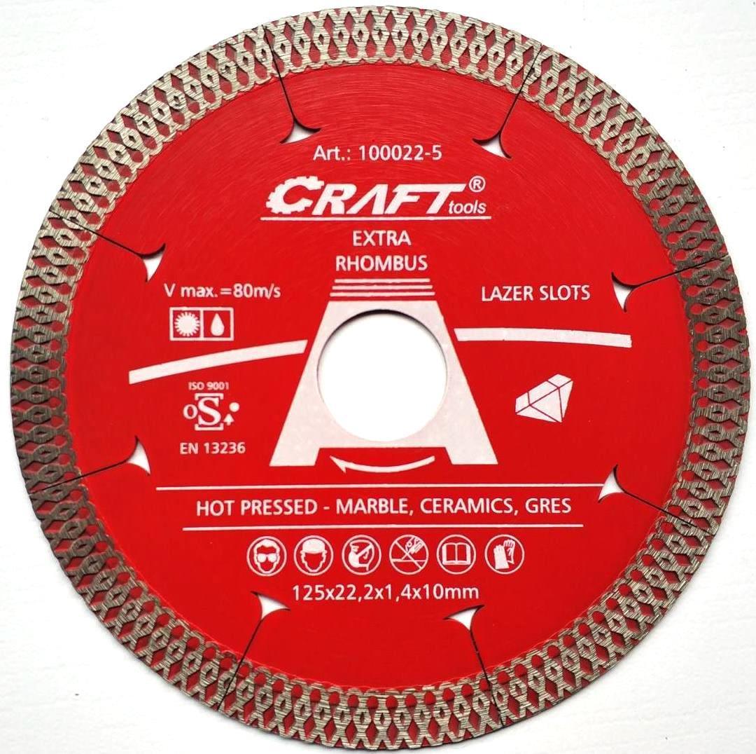 022-5 Диск відрізн.алмазн Craft гарячого пресування із ромб. різцем та лазерними шліцами 125*22,2*1,4*10мм