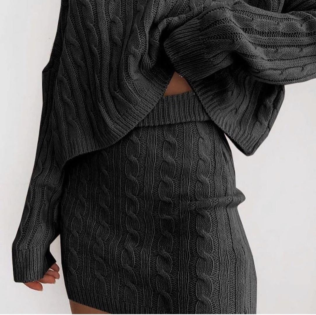 Женский костюм, вязка, р-р универсальный 42-46 (чёрный)