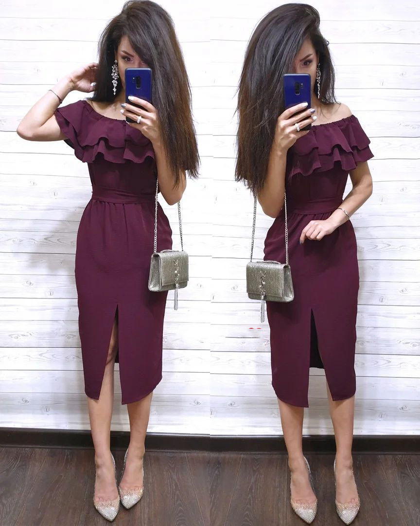 Платье облегающее летнее с рюшей и открытыми плечами