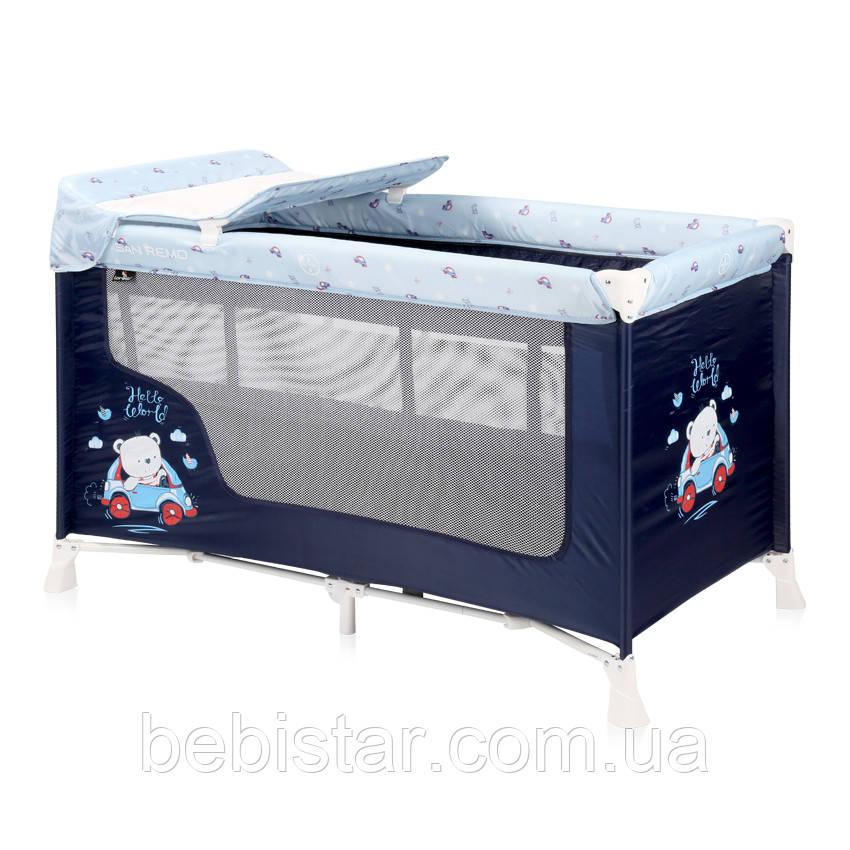 Детский манеж кровать-манеж Lorelli SR 2 L для отдыха и игр двойное дно пеленатор сумка для переноски Синий