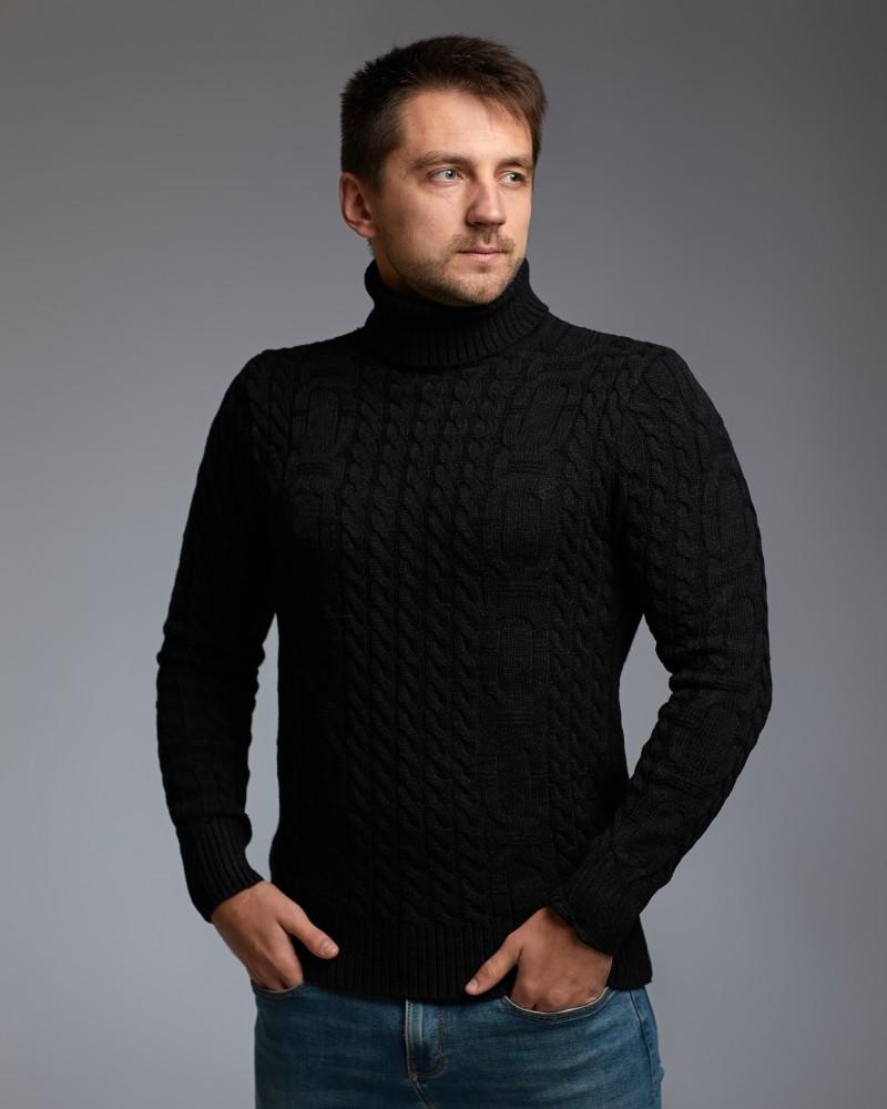 """Теплий чорний чоловічий светр з візерунком """"Ланцюга"""""""