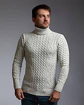 """Теплый светло-серый мужской свитер с узором """"Цепи"""""""
