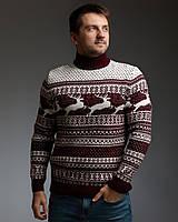 Чоловічий светр з оленями бордово-білий з прямою горловиною, фото 1