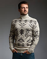 Мужской теплый бежевый свитер с оленями с подвернутой горловиной, фото 1