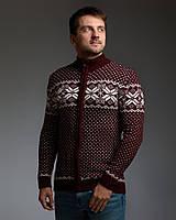 Бордовый мужской свитер на молнии с классическим орнаментом, фото 1