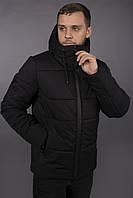 Зимняя мужская куртка на флисе из плащевки теплая стильная, черная