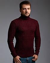 """Теплый бордовый мужской свитер с узором """"Цепи"""""""