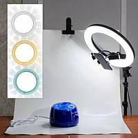 Круглая кольцевая лампа на штативе для визажа бровиста с регулировкой яркости и света 54см для салона красоты