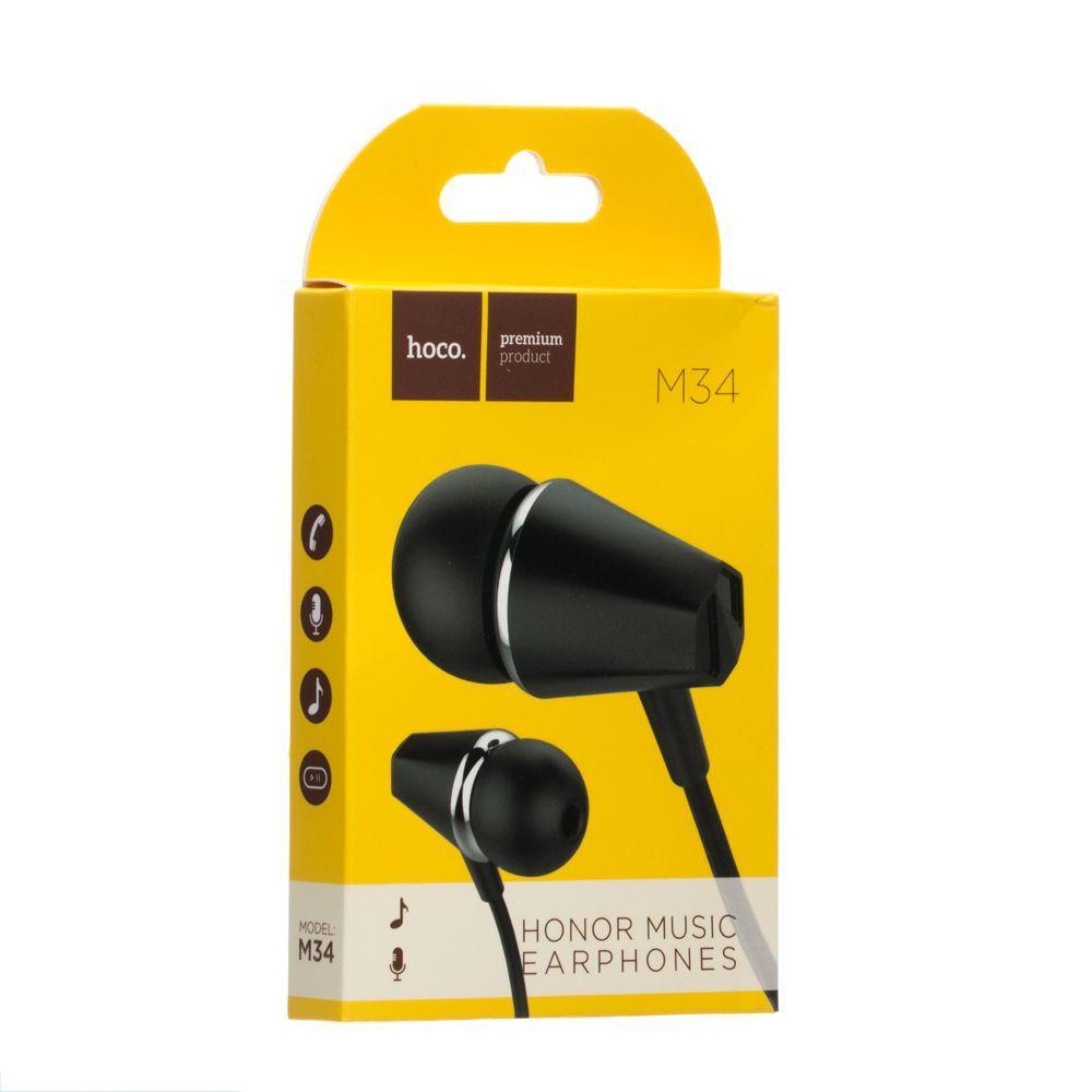 Вакуумні навушники Hoco M34 з мікрофоном (120см, чорні)