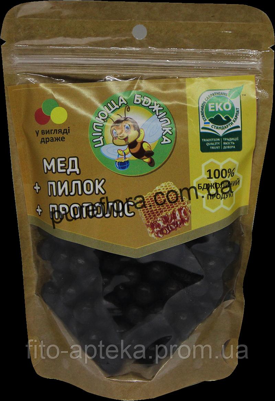 Мед+цветочная пыльца +Прополис (драже) 150грамм  Цілюща бджілка