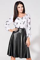 Женская юбка солнце из экокожи миди Nimfeya кожаная черная размер XS S M L XL XXl 48 50 52