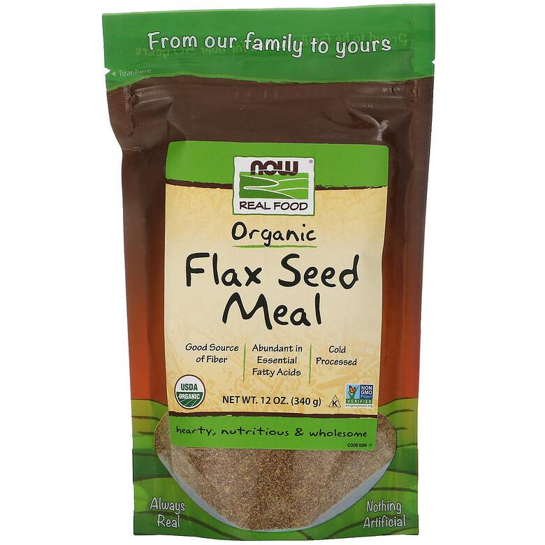 """Льняное питание NOW Foods, Real Food """"Flax Seed Meal"""" сертифицированное, органическое (340 г)"""