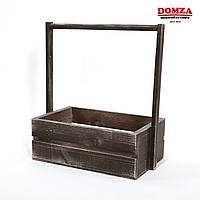 Ящик деревянный с ручкой коричневый с белыми потертостями, 25х15х10(30) см