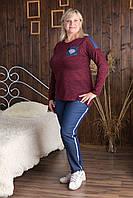 Женский повседневный спортивный костюм 534 Zeta-m, трикотаж ангора с люрексом , брюки стрейч, большие размеры