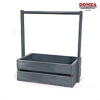 Ящик деревянный с ручкой серый с белыми потертостями, 25х15х10(30) см