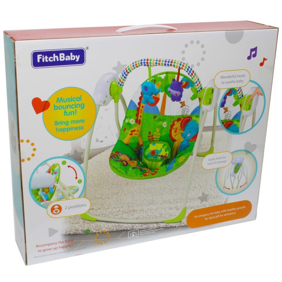 Электрокачеля для ребенка / шезлонг качалка для новорожденных погремушки, музыка от сети