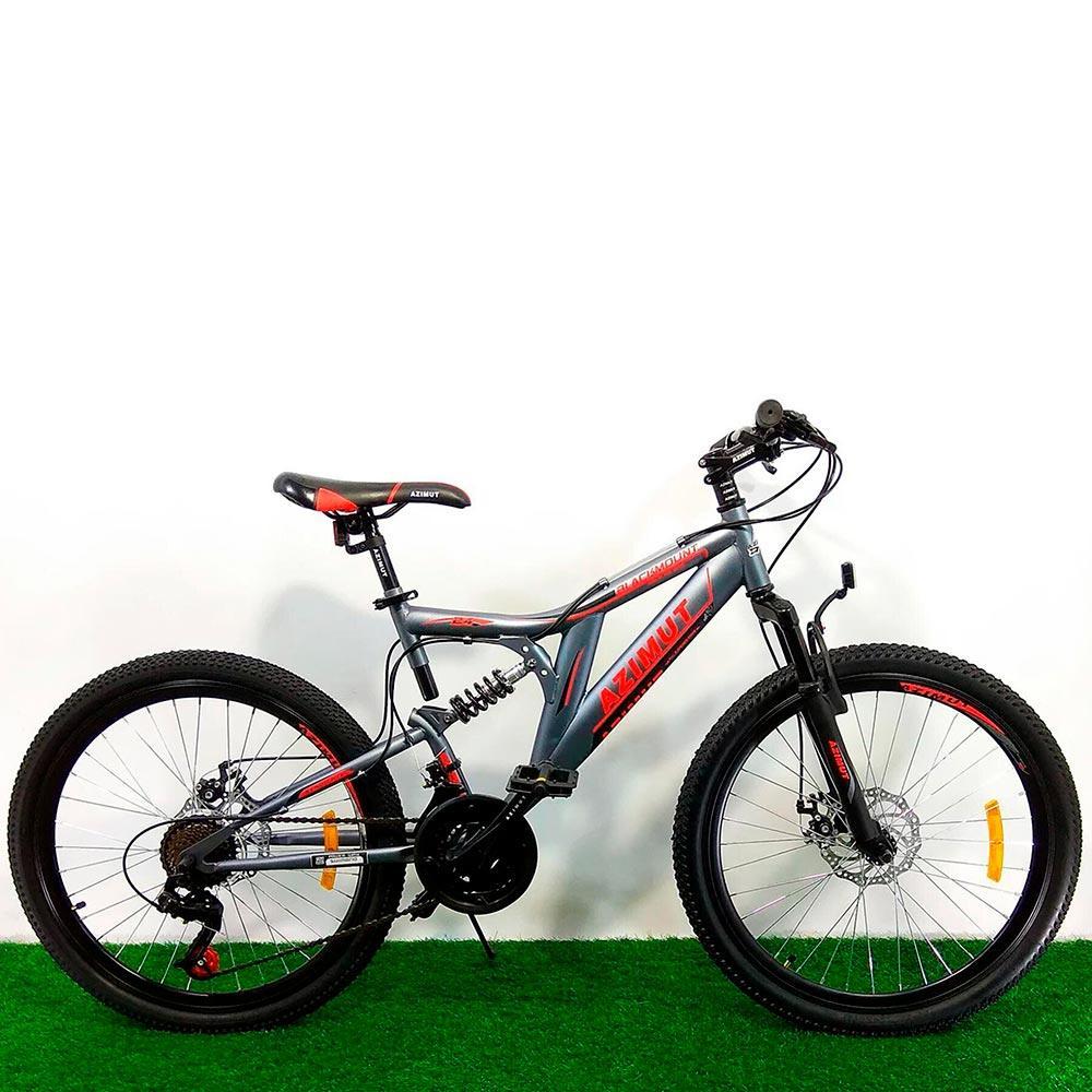 """Горный двухподвесный велосипед 26"""" Azimut Blackmount D серо-красный"""