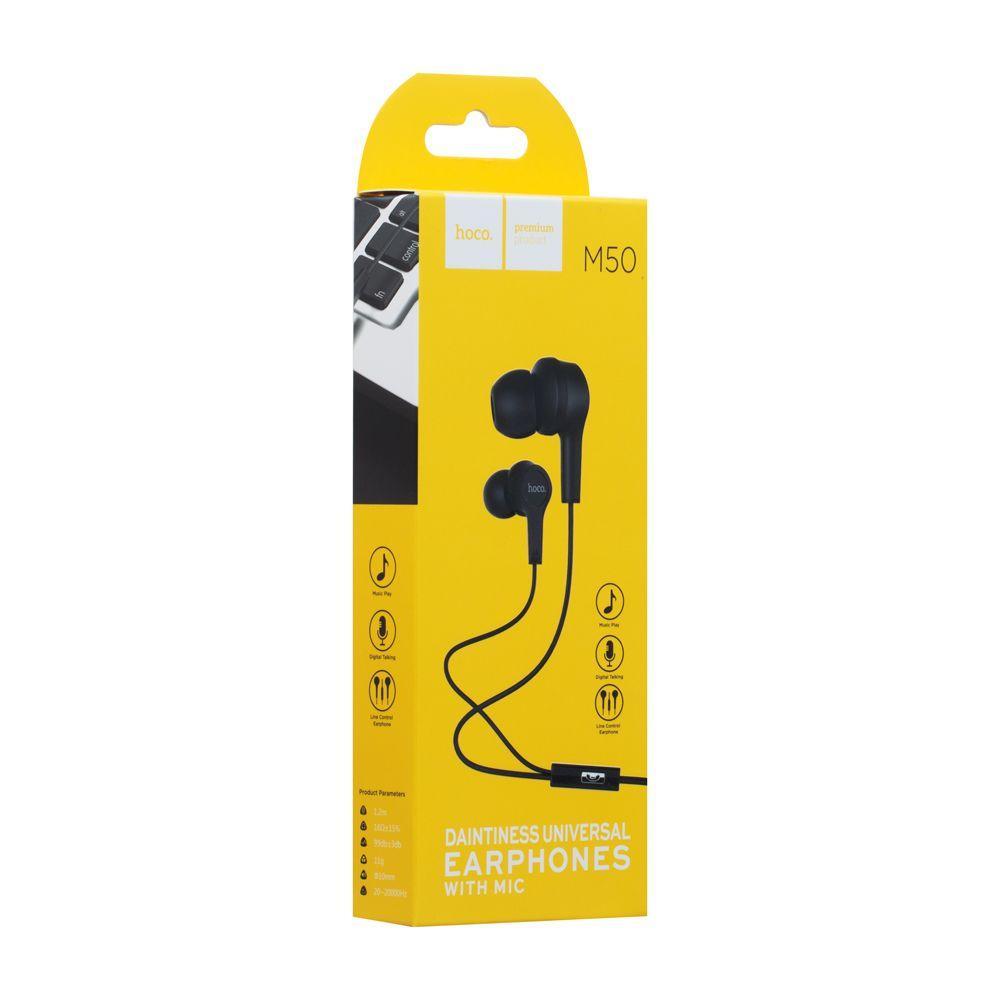Вакуумні навушники Hoco M50 з мікрофоном (120см, чорні)