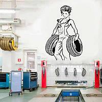 Наклейка сексуальная девушка Декор для гаража Авто сервис (размер 90х60см)