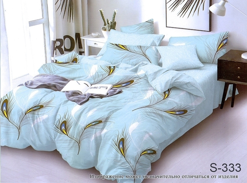 Полуторный комплект постельного белья из хлопка Полуторний комплект постільної білизни на молнии S333