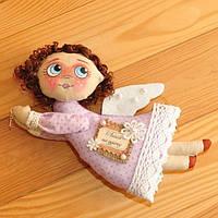 """Текстильный сувенир оберег """"Ангел с пожеланием"""", ручная работа, хендмейд, размеры - 20х10"""