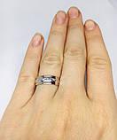 Обручальное родированое серебряное кольцо с золотом Бесконечность, фото 4