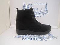 Женские стильные зимние ботинки броги из натуральной замши