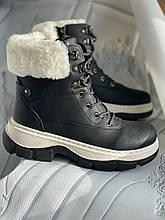 Зимние ботинки на платформе с мехом черного цвета