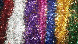 Мишура новогодняя Лапша 10 см/3 м. - 50 шт/упаковка цвета в ассортименте
