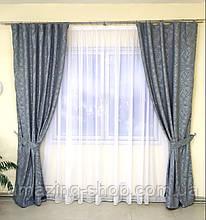 Готовые льняные шторы | Готові штори з льону | Комплект якісних штор | Шторы с подхватами | Серые шторы