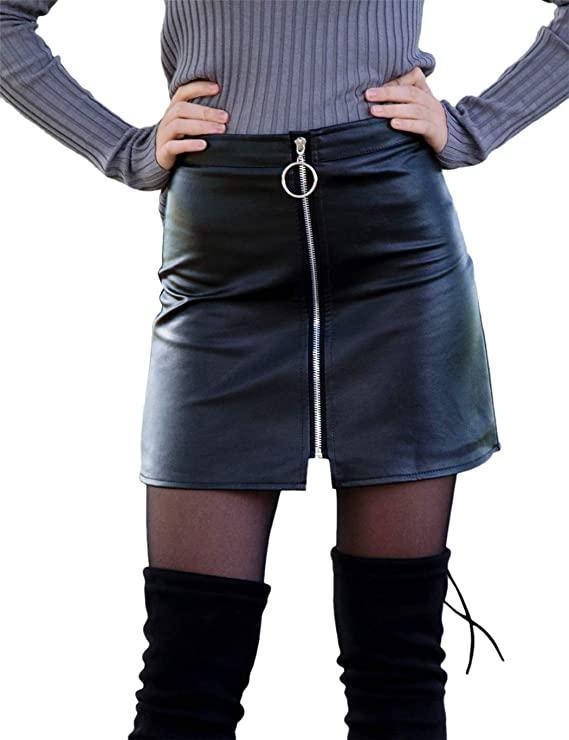 юбка женская из экокожи на молнии